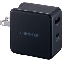 GREEN HOUSE グリーンハウス GH-ACU2GB-BK USB-AC充電器 2ポート 65W:関西・大阪・なんば・日本橋近辺でPCをパーツ買うならツクモ日本橋!