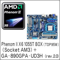 【クリックで詳細表示】Phenom II X6 1055T BOX (TDP95W) (Socket AM3) + GA-890GPA-UD3H (rev. 2.0) セット
