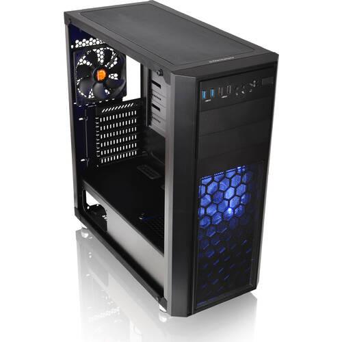 Versa H26 Black /w casefan (CA-1J5-00M1WN-01) 拡張性と冷却性能を備えるミドルタワー型PCケース 水冷対応のフルアクリルウィンドウ