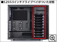 5.25/3.5インチドライブベイがついた状態